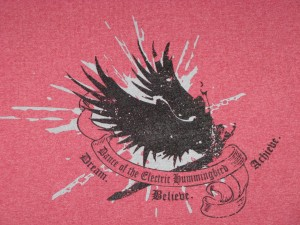 Dance of the Electric Hummingbird T-shirt close-up